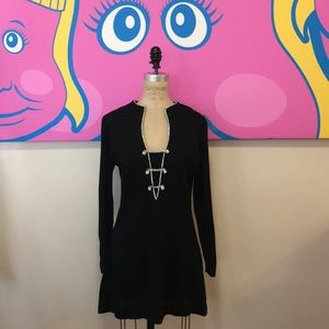 Vintage Black Polyester Knit 1960s Mini Dress
